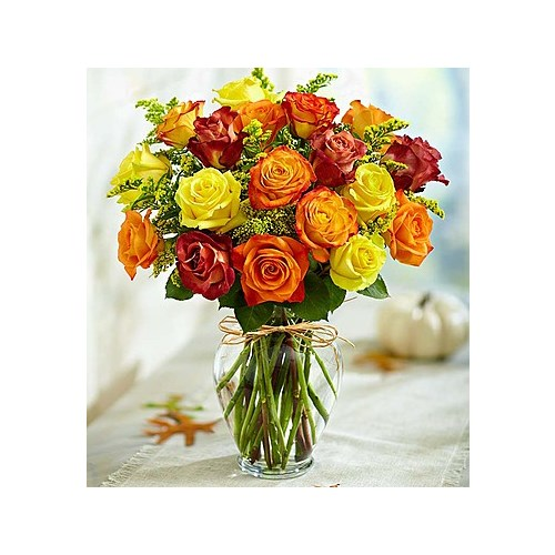 Flowerama windsor heights local florist in windsor heights ia fall roses are yellow red orange in a mightylinksfo