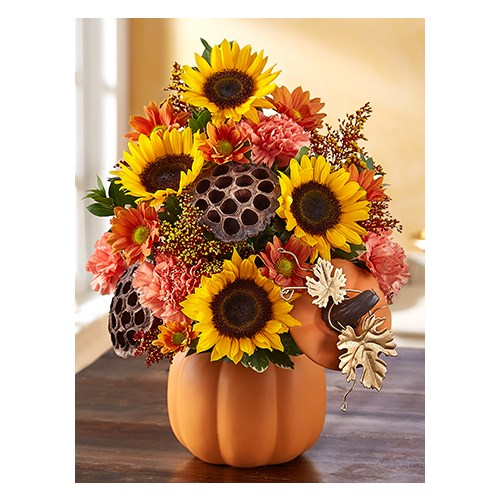 sunflowers-carnations- daisies-lotus-pods-in-a-reusable-orange-pumpkin-container