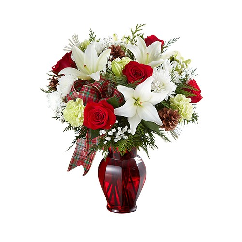 Holiday-Tidings-Bouquet-has-red-roses-white-lilies-poms-baby-s-breath-assorted-greenery-pinecones-beautiful-ribbon-and-perfect-christmas-gift