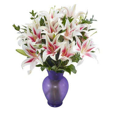 Stargazer-Mothers-day-lilies-and-violet-frost-vase